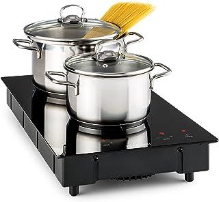 KLARSTEIN VariCook Domino - Double plaque de cuisson vitrocéramique, 9 niveaux de puissance, Minuterie, Tous types d'usten...