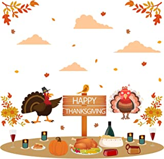 Prabahdak Happy Thanksgiving Wall Decals Autumn Fall Leaves Wall Sticker Funny Turkey and Pumpkins Wall Decal Removable Wall Sticker for Kids Living Room Window