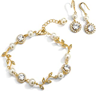 Mariell 14K Gold Vine & Ivory Pearl CZ Bridal Bracelet & Earrings Set - Wedding Jewelry for Bridesmaids