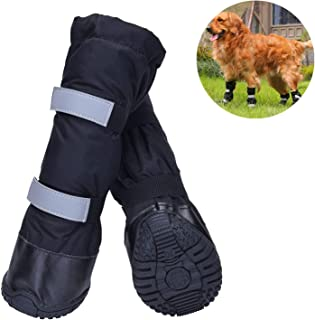 HiPaw Water Resistant Dog Boots Warm Lining Nonslip Rubber Sole for Snow Winter
