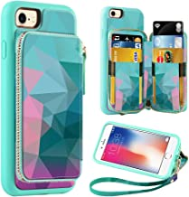 ZVE Wallet Case for Apple iPhone 8 and iPhone 7, 4.7 inch, Zipper Wallet Case with Credit Card Holder Slot Handbag Purse Wrist Strap Print Case for Apple iPhone 8/7 4.7 inch - Diamond