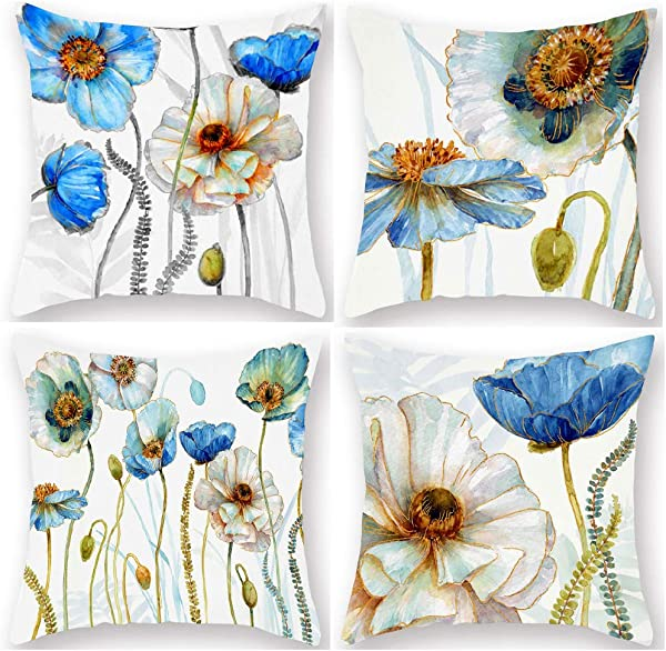 YANGYULU Flowers Throw Pillow Cover Watercolor Blue White Poppies With Leaves Decorative Super Soft Standard Pillowcase Cushion Case Cover Chair Couch Sofa Decorative 18 X18 4Pcs Blue White Poppies