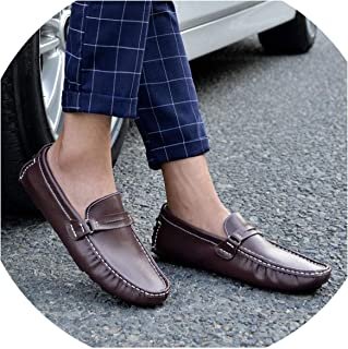 floral hoop Shoes Men Genuine Leather Fashion Brand Mens Loafers Slip-On Driving Shoes Mens