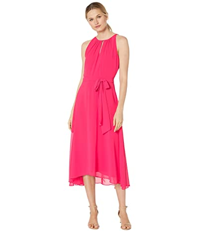 Tahari by ASL Sleeveless Chiffon Keyhole Midi (Raspberry) Women