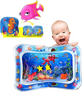 JOLI Tummy Time Water Mat with a BONUS BABY BATH BOOK Infants and Toddlers Sensory Playmat Babies Eco Friendly Belly Time ...