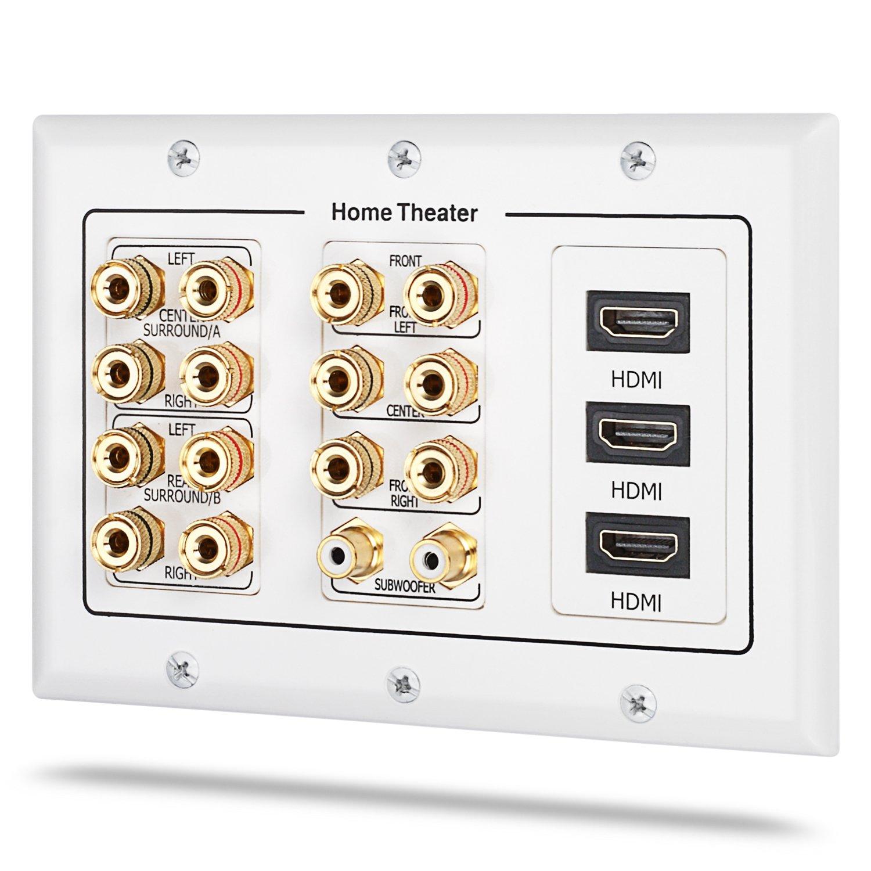 """Fosmon HD8006 3-Gang 7.1 环绕立体声家庭影院镀金铜 """"香蕉"""" 装订 3-Gang 7.2 Surround 7.2 HD8137"""