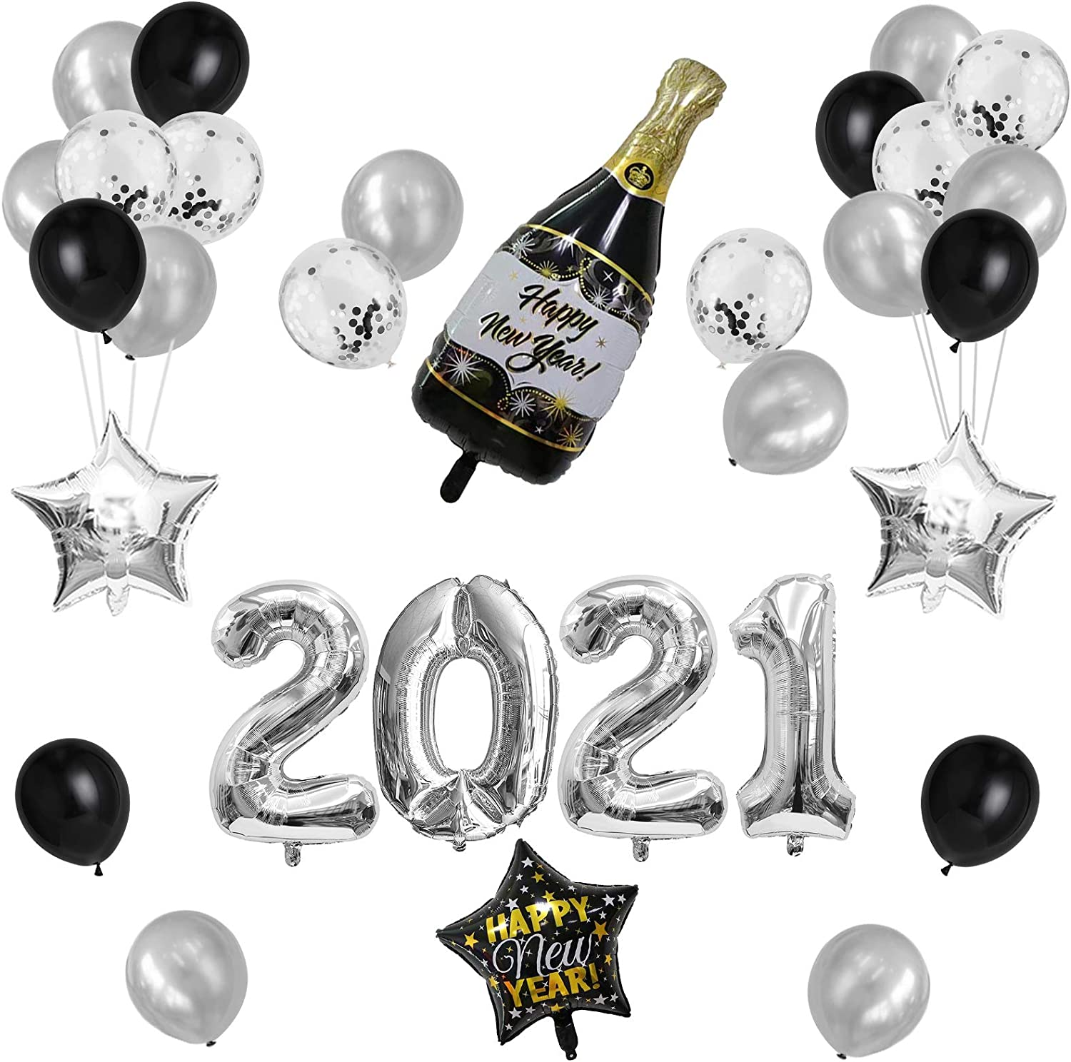 GeeRic New Year Balloons 2021 New Year Decorations 2021 Set Decorations 2021 Giant Number Balloon Birthday Latex Colorful Balloons Set for Happy New Year Party Decorations Silver