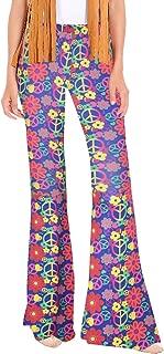 Women's Hippie Costume Pants Halloween Floral Bell Bottom