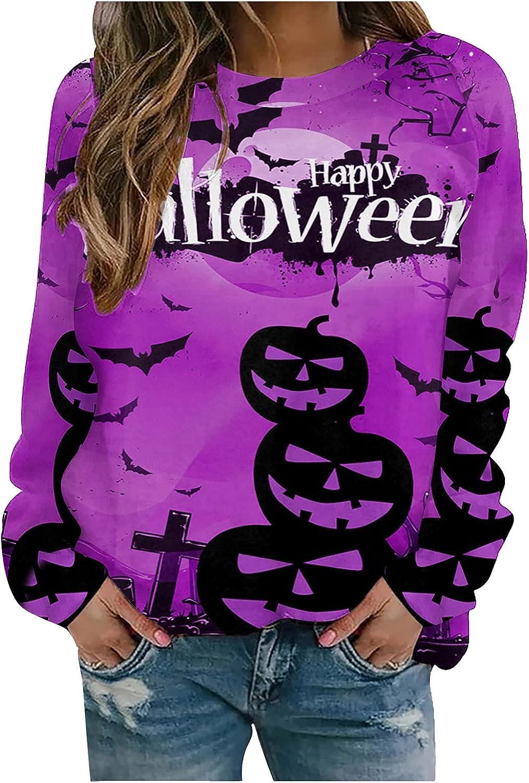 Halloween Long Sleeve Tops for Women, wodceeke Womens Loose Pumpkin Print Sweatshirts Crewneck Casual Sweater T Shirts