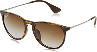 RAY-BAN RB4171F Erika Round Asian Fit Sunglasses, Light Havana/Polarized Brown Gradient, Polarized Brown Gradient