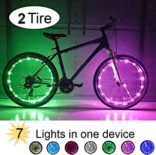 RiverLight Bike Wheel LED Changeable 8 Lights with USB Rechargeable Battery! Instant Brightness & Visibility for extreme Safety & Style (2 Tire Pack)