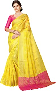2b57741639 Glory Sarees Women's Maheshwari Silk Fabric (maheshwarisilk104_yellow_Pink)