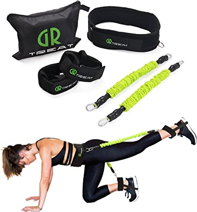 Booty Fitness Band Set - Booty Belt for Glutes Muscle Workout - Perfect Band to Lift Your Butt - Including Waist Belt, Two Resistance Bands, Two Ankle Straps, an E-Book and A Carry Bag.