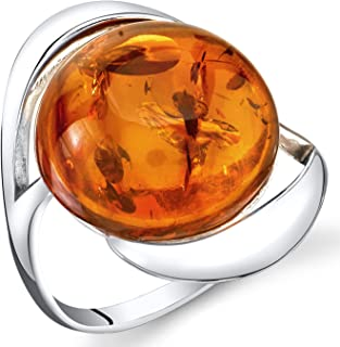 Baltic Amber Swirl Ring Sterling Silver Cognac Color Large Round Shape Sizes 5-9