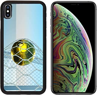 Liili Premium Apple iPhone Xs MAX Aluminum Backplate Bumper Snap Case Image ID: 10768028 a Goal Concept Golden Ball in a net