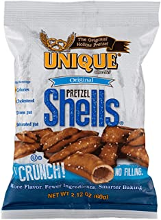 Unique Pretzels - Original Pretzel Shells, Delicious Vegan Snack Pretzels Individual Pack, Large OU Kosher Pretzels, 2.12 Oz Bags, 24 Pack