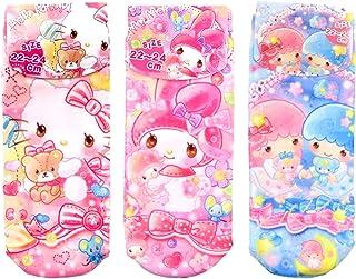 サンリオ レディースソックス ドリーム 3柄セット(ハローキティ レッド?マイメロディ ピンク?リトルツインスターズ キキララ ブルー) 女性用靴下