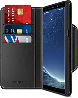 Maxboost Note 8 Wallet Case [Folio Style] [Stand Feature] mWallet Series for Samsung Galaxy Note8 (2017) [Black] Protective Credit Card Leather Flip Cover [Card Slot + Side Pocket] Magnetic Closure