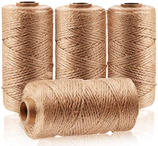 Art Shows 4Pcs(1312 Foot) Natural Jute Twine,Arts and Crafts Jute Rope Industrial Packing Materials Packing String for Gif...
