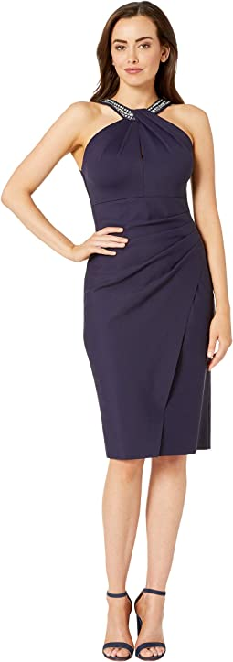 Short Slimming Dress with Keyhole Cut Out Halter Neckline