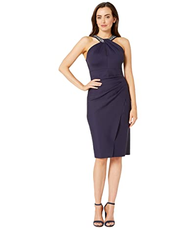 Alex Evenings Short Slimming Dress with Keyhole Cut Out Halter Neckline (Navy) Women