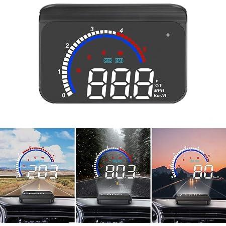 Head Up Display Universelles Digitales Auto Hud Display Obd2 Gps Dual System Auto Tachometer Mph Überdrehzahlwarnung Kilometerstandmessung Motordrehzahl Wassertemperatur Geschwindigkeitsmesser Auto