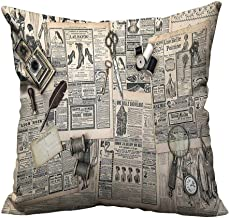 YouXianHome Throw Pillow Cover for Sofa Antique Accessories Design Old Fashion Magazine Sewing and Writing Tools Beige and Black Textile Crafts (Double-Sided Printing) 26x26 inch