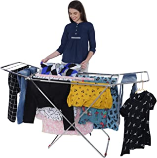 LiMETRO STEEL Stainless Steel Foldable Cloth Dryer Stand Double Rack Cloth Stands for Drying Clothes Steel