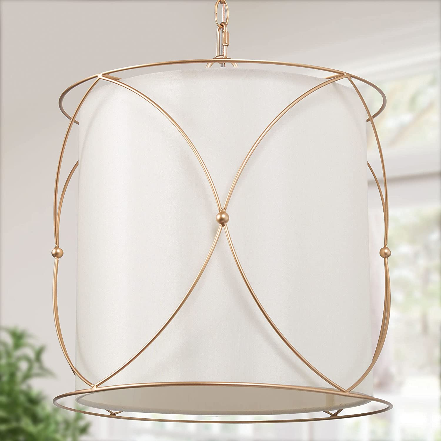 Gold Drum Chandelier Pendant Lighting Fabric White Sh 67% OFF of fixed price with Large special price !!