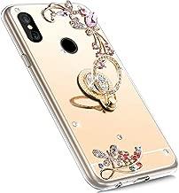 MoreChioce Compatible with Xiaomi Redmi S2 Mirror Case,Xiaomi Redmi S2 Cover,Rhinestone Cover Soft Rubber Bumper Case,Electroplate Gold Glitter Mirror Makeup Case with Ring Stand Holder