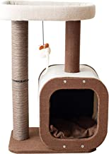Catry Cat Tree Tower with Kitten Condo Paper Rope Covered Scratch Post Activity Center for Climbing Relaxing and Playing