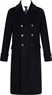 Mens Black Overcoat Wool & Cashmere Great Coat Long Double Breasted Heavy Warm Winter Cromby