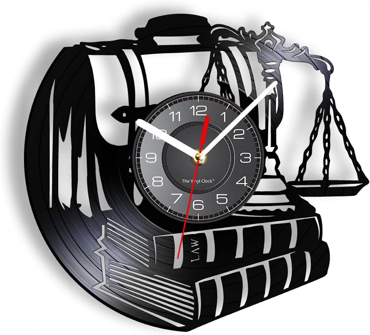 wwccy Abogado de la Justicia Reloj de Pared Hecho de Disco de Vinilo Real Libro de leyes Maletín Balance Vintage Reloj de Pared Iluminado Regalo para Abogados