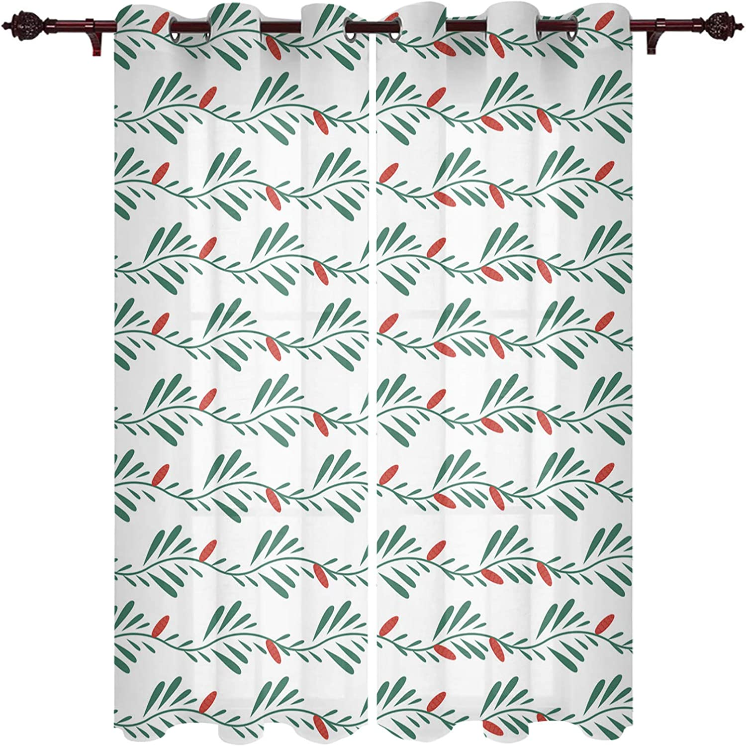 Window Treatment Sheer Credence Curtains Christmas Green Red Leav Max 55% OFF Berries
