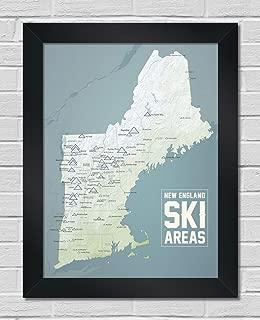 New England Ski Resorts Map Premium Framed 18x24 Poster (Natural Earth   Black)