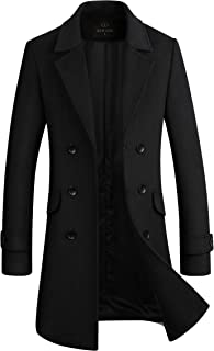 Men's Stylish Wool Blend Double Breasted Long Pea Coat