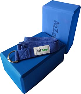 A2ZCARE Yoga Blocks (Set of 2) and Yoga Strap Set with D-Ring – Yoga Foam Block 9x6x4 inch and Yoga Stretching Strap
