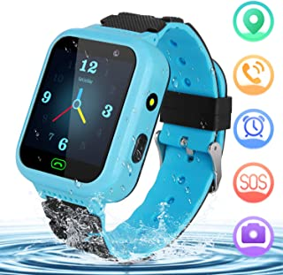 YENISEY Kids Smart Watch for Children GPS SOS Tracker Smartwatch, Waterproof with Chat Call Camera Alarm Clock Game Touch Screen Birthday Gifts for Girls and Boys (Blue)