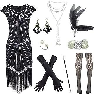 FUNDAISY Plus Size 1920s Sequin Long Fringe Great Gatsby Flapper Dress w/Accessories Set