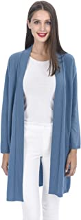 State Cashmere Women's Open Front Long Cardigan 100% Cashmere Straight Hem Oversized Sweater-Coat