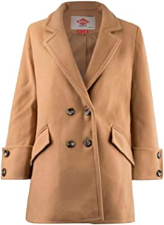 Overcoat Womens Buttoned Coat Jacket Brown Outdoor Top Outerwear UK 8 (X-Small)
