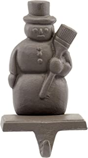 Red Co. Brown Cast Iron Snowman Stocking Holder with Hook Rustic Home Christmas Décor for Mantel, Fireplace, Dresser