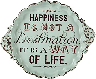 NIKKY HOME Happiness is Not a Destination It is a Way of Life Small Vintage Metal Sign Decorative Plate for Display, 14.57 x 1.10 x 12.01 Inches