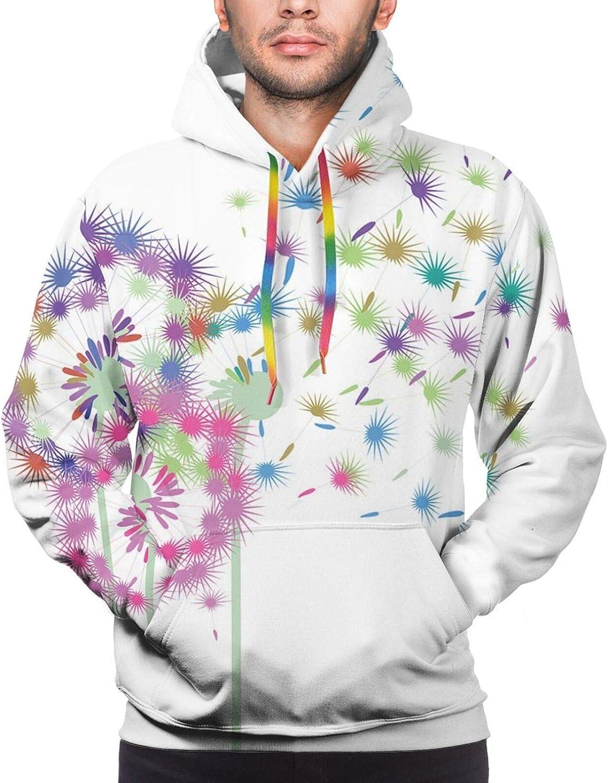 Men's Hoodies Sweatshirts,Colorful Blowball Flowers in Wind Seeds Flying Away Spring Season Inspiration
