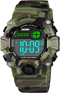 Boys Camouflage LED Sport Watch,Waterproof Digital Electronic Casual Military Wrist Kids Sports Watch with Silicone Band Luminous Alarm Stopwatch Watches Age 5-10