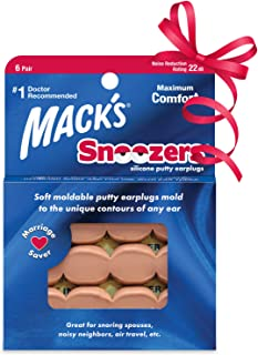 Mack's Snoozers Silicone Putty Earplugs - 6 Pair – Comfortable, Moldable Silicone Ear Plugs for Sleeping, Snoring, Loud Noise & Traveling