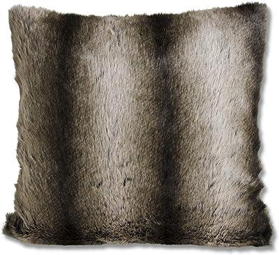 K&K Interiors 15946B 18 Inch Square Brown Three Tone Faux Fur Pillow