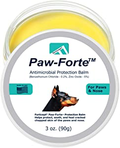 Forticept PAW-Forte Medicated Antimicrobial Paw and Nose Protection & Treatment Wax Balm for Dogs & Cats  Helps Protect Soothe and Heal Cracked Chapped Skin of The Paws and Nose