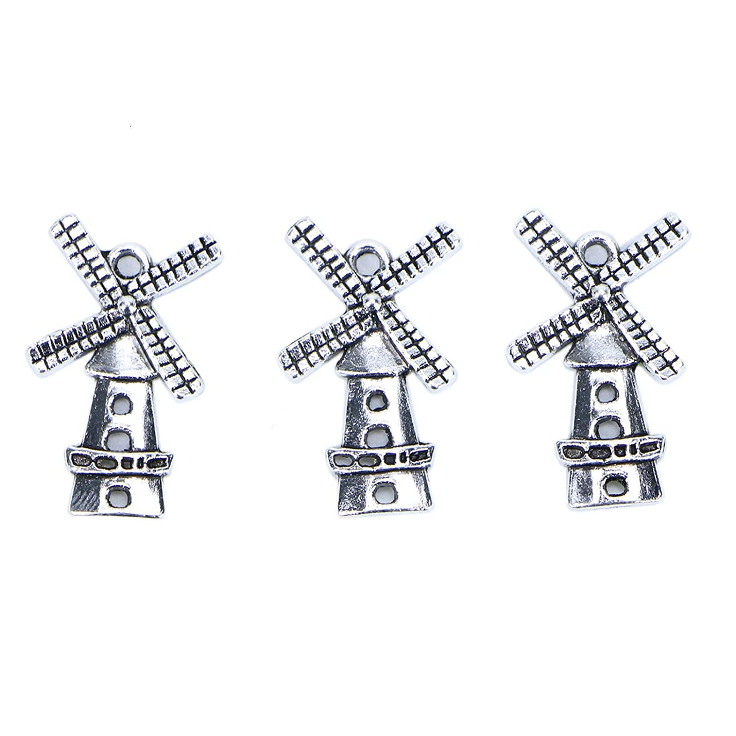 Monrocco 30 pcs Alloy Windmill Charms Pendants for DIY Necklace Bracelet Jewelry Making (Ancient Silver)