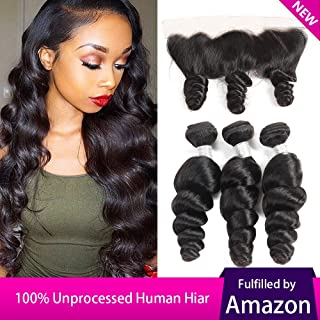 Peruvian Loose Wave 3 Bundles with Lace Frontal 13x4 Ear to Ear Closure Free Part Unprocessed 8A Virgin Human Hair Natural Color (14 16 18 with 14 inch)